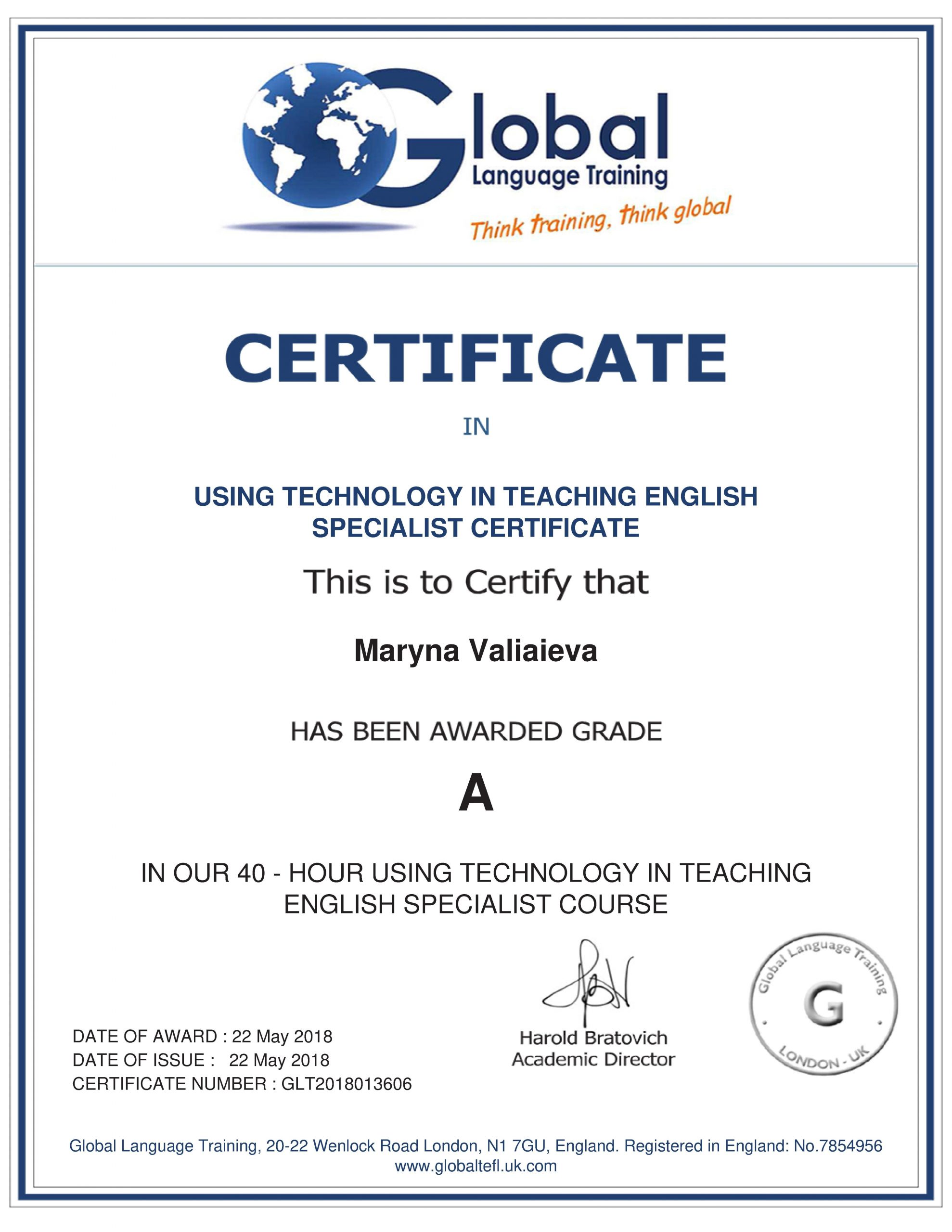 Certificate Using technology in teaching english