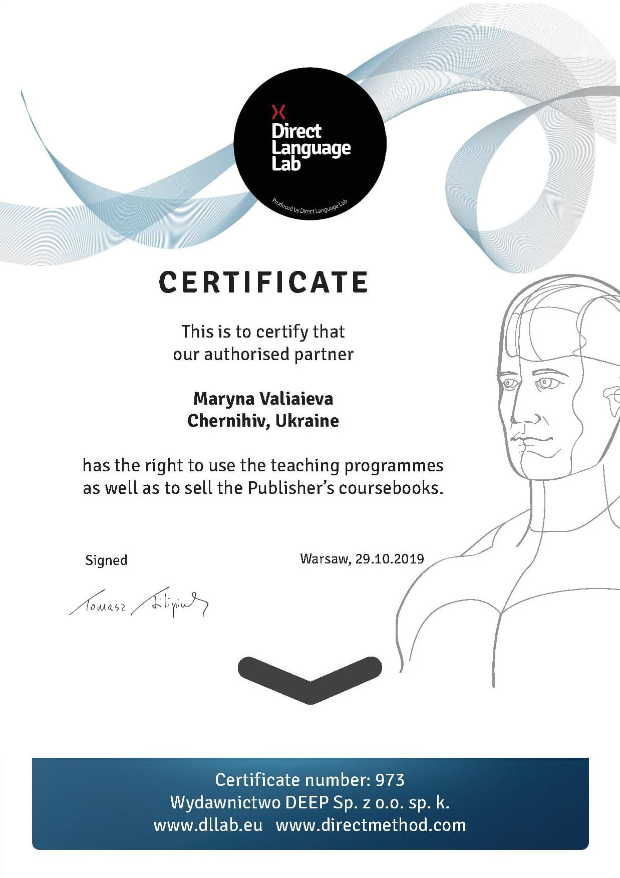 Certificate Authorised partner of Direct Method